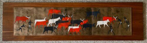 Vintage 1960s Abstract Tribal Herd Enamel Wood Wall Hanging Mid Century Modern