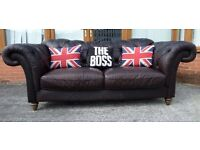Barker & Stonehouse Chesterfield Dark Brown Leather Large 3 Seater Sofa Low Back Natuzzi UK Delivery