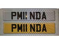 """PM11 NDA"" Cherished number plate."