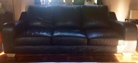 Contemporary black leather 2 and 3 seater sofas