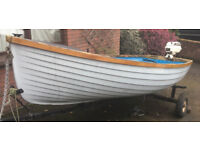 Fulmar 12ft 6in clinker style GRP fishing / day boat with 4hp outboard and trailer