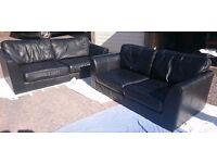 2 & 3 Seater Black Leather Sofas