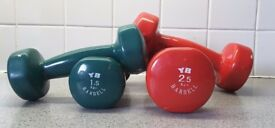 Hand weights, two pairs (1.5kg, 2.5kg)