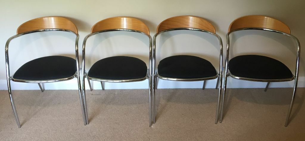 Set Of 4 Italian Designer Chrome Amp Wood Stacking Chairs By