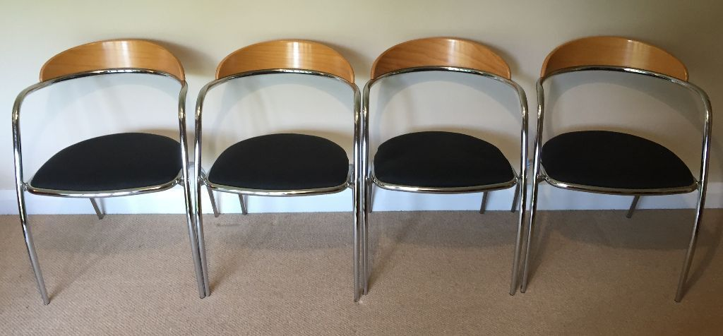 Set Of 4 Italian Designer Chrome Wood Stacking Chairs By Effezeta