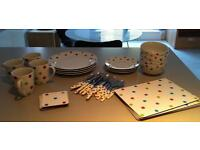 Crockery set (small and large plates, bowls, cups, cutlery, place mats, coasters)