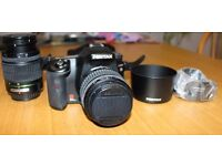 Pentax K100D DSLDR with bag, 2 lenses (18-55 and 50-200) and lens hoods £120 ONO