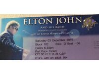 2 Tickets for Elton John Concert in Newcastle on 3 December