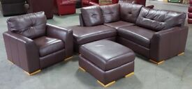 Brown Leather Corner Sofa Set.CAN DELIVER