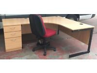 Huge Light Oak Radial Cantilever Office/Home Workstation & Pedestal + Key FREE DELIVERY & ASSEMBLING