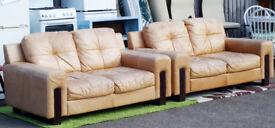 Mottled Tan Leather Sofa Settee £50 each x 2 Twin seater - Ilkeston
