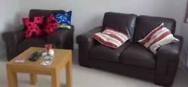 2 Piece leather sofa set, really comfy!
