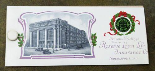 Early 1900s celluloid blotter RESERVE LOAN LIFE INSURANCE Co. Season