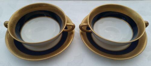 Vintage Lenox Westchester Cobalt Blue Flat Cream Soup Bowl & Saucer set - M139K