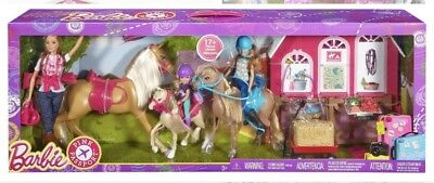 BARBIE Pink Passport Horses and Ranch Gift Set Sisters RARE DISCONTINUED