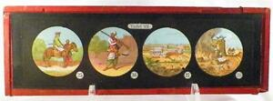 Antique-Glass-Slide-Arabian-Man-Rifle-Cutlass-Magic-Lantern-Tafel-VII-1880-AS-IS