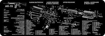 Long Gun Cleaning Bench Mat w/ Parts List View Non-Slip NEW