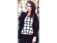 Ladies Black Shaggy No Buttons Cardigan.Size 8.