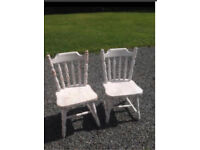 2 vintage style pine chairs kitchen or dining