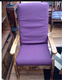 Wooden high back chair with cushions