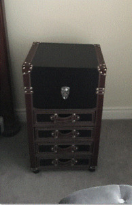 Trunk Style Leather Side Table