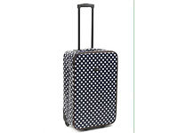 """BRAND NEW Constellation 24"""" Navy And White Spot Oil Cloth Suitcase RRP £50"""