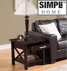 "NEW SIMPLI HOME RIDGELY END TABLE 20.5""x20.5""x20"" - DARK WALNUT 107262263"
