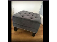 New Regents Park Footstool With grey velvet & stud detailing