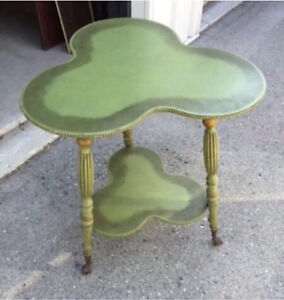 Solid wood antique mahogany beautiful green vintage Accent table