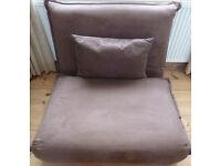 """Scandinavian 'ACTONA' Danish Scandinavian Sofa Chair Folding Flat to Single Bed Futon 40""""w Brown VGC"""