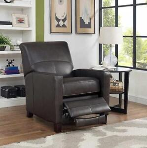 NEW EVAN GREY LEATHER RECLINER 6603RC2370LU 190659246 TOP GRAIN CHAIR HOME HOUSE FURNITURE GRAY