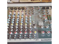 Allen and Heath ZED10 Mixer, Alesis Graphic EQ and Power Amp (All Flightcased)