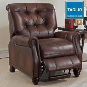 NEW TAGLIO HANLEY BROWN RECLINER - 132893264 - TOP GRAIN LEATHER