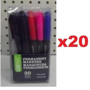 600 NEW CASEMATE PERMANENT MARKERS 3410/30ACT 177682844 ASSORTED INK SCHOOL OFFICE WORK FINE POINT 2 PACKS OF 30 MARKERS