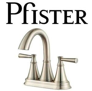"NEW PFISTER CANTARA BATHROOM FAUCET 2 HANDLE, 4"", BRUSHED NICKEL FINISH 102151073"