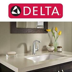 NEW DELTA SOLINE BATHROOM FAUCET SINGLE HANDLE, CHROME FINISH, POP UP DRAIN INCLUDED 102188617