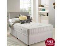 !!SALE NOW ON!! Brand New Luxury Suede Divan Bed Sets Inc Mattress & Headboard (Free Fast Delivery)