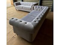 SAME DAY / NEXT DAY DELIVERY AVAILABLE ON NEW GREY CHESTERFIELD PLUSH VELVET 3+2 SOFA SET ORDER NOW