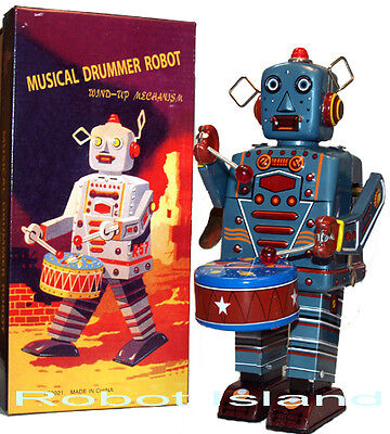 Mr. Robot Drummer Wind Up Tin Toy NEW on Rummage
