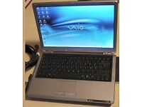 "Sony laptop, 13.3""screen, wireless, good working order,"