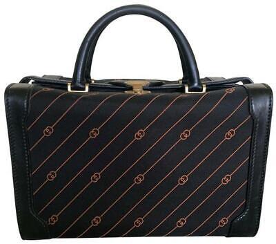 Gucci Vintage Train Case Luggage/Travel Bag Black/Orange