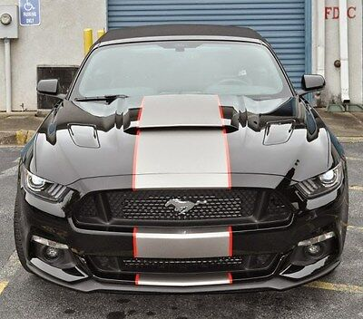 """2015 2016 17 18 Mustang 2 color 19"""" Center Rally stripes Stripe Graphics Decals"""