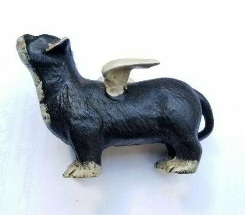 "Vintage Cast Iron Kitty Cat With Wings - 4 1/2"" Inches Long - Nice Condition"