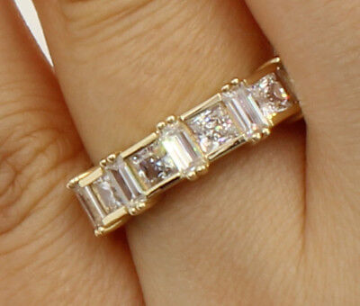 14k Yellow Gold Anniversary Band - 2 Ct 14K Yellow Gold Square Princess Baguette Cut Wedding Anniversary Ring Band