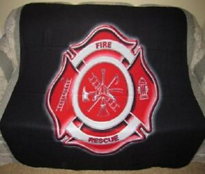 New Fireman Shield Fleece Throw Blanket Gift Firefighter Badge Fire Department
