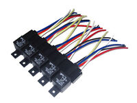 5pk 12V 30A SPDT BOSCH STYLE RELAYS /& 5-WIRE SOCKETS AUTO HID