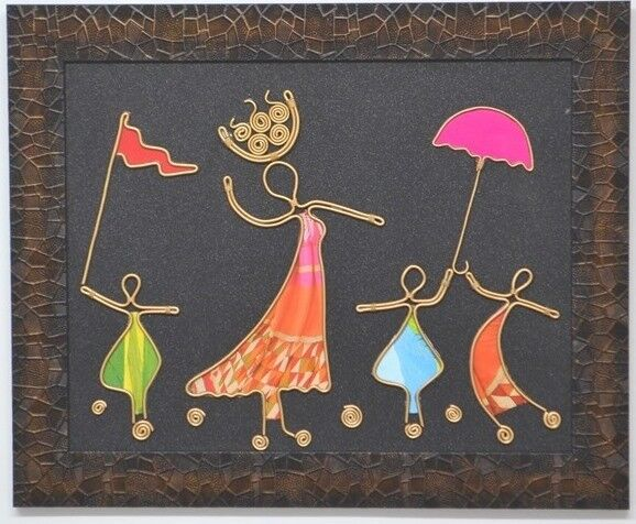 New, Handmade, Wire and Decoupage Paper Framed Wall Art Picture   in ...