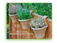 Set Of Three Beige Balcony Planters