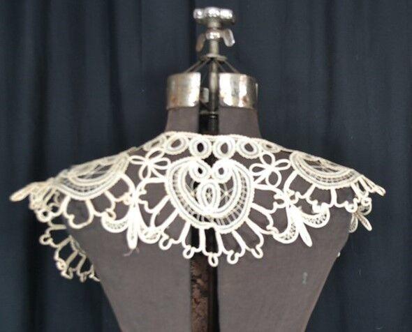 antique collar bertha tape lace embroidered cotton silk Victorian original 1800s