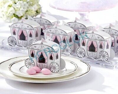 Wedding Favor Carriage Gift Box -Princess White Pink Cinderella Fairytale Favour